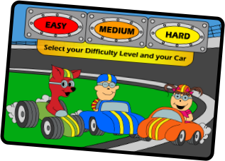 Letter Raceway Diffuculty Selection Screen